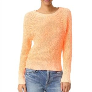 Free People neon orange marl linen blend sweater